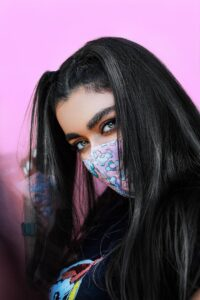 Eyes speak. Masked woman with expressive eyes.